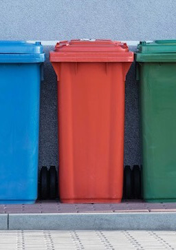 Colored garbage cans